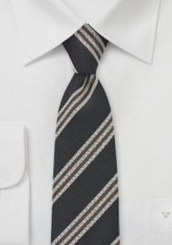 Skinny Necktie in Black, Brown, Gray