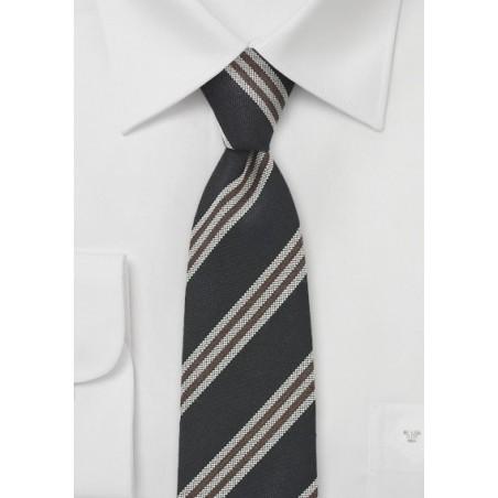 Skinny Necktie in Black, Brown, Gray