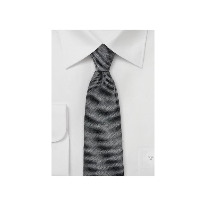 Worsted Wool Gray Skinny Tie