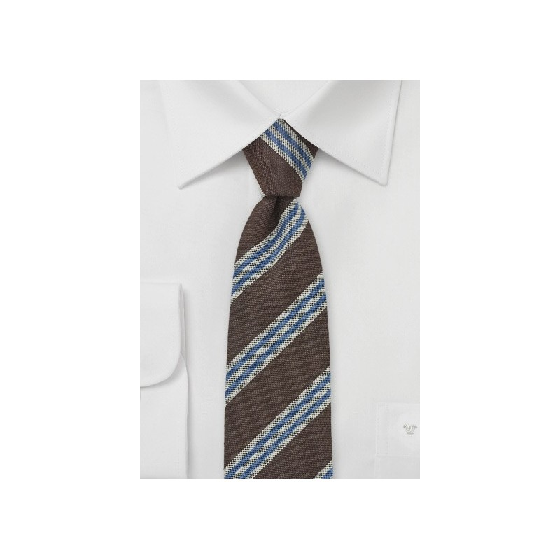 Slim Tie by BlackBird in Brown, Blue, Gray