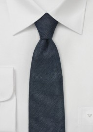 Midnight Blue Wool Skinny Necktie