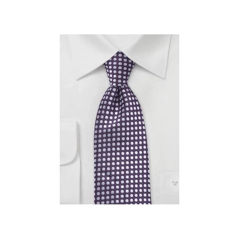 Deep Purple and Silver Polka Dot Tie