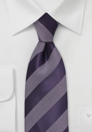 Modern Striped Tie in Royal Purple