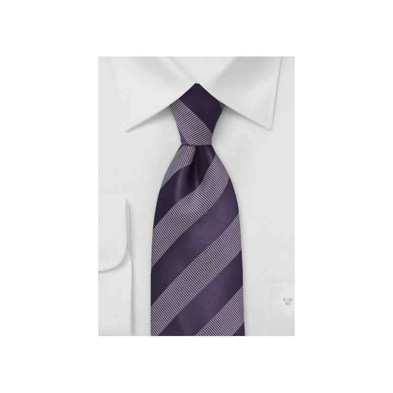 Modern Striped Tie in Royal Purple