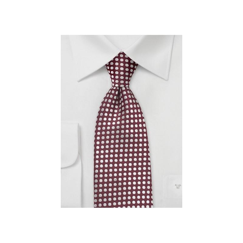 Modern Polka Dot Tie in Merlot