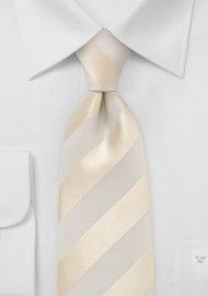 Ivory and Cream Striped Silk Tie