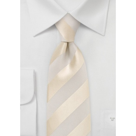 Ivory and Cream Striped Silk Tie