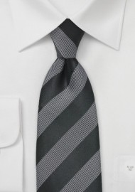 Black and Gray Textured Striped Tie