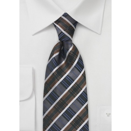 Art Deco Striped Tie in Greys and Blues