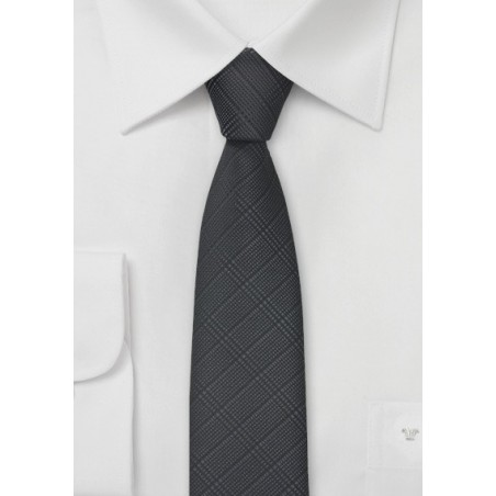 Trendy Plaid Tie in Charcoal and Black