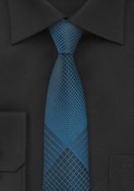 Teal and Black Skinny Necktie