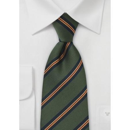 XL Length Regimental Tie in Dark Green