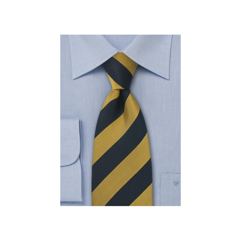 Navy and Gold Regimental Tie in XL Length