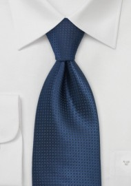 Extra Long Textured Tie in Dark Blue