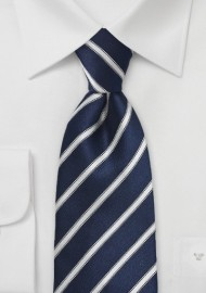 Striped Midnight Blue Tie in Extra Long