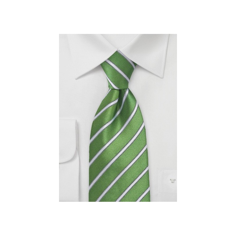 Extra Long Organic Green and White Striped Tie
