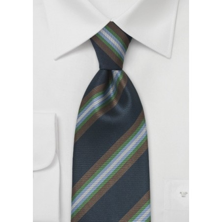 Large Striped Tie in Navy Blue