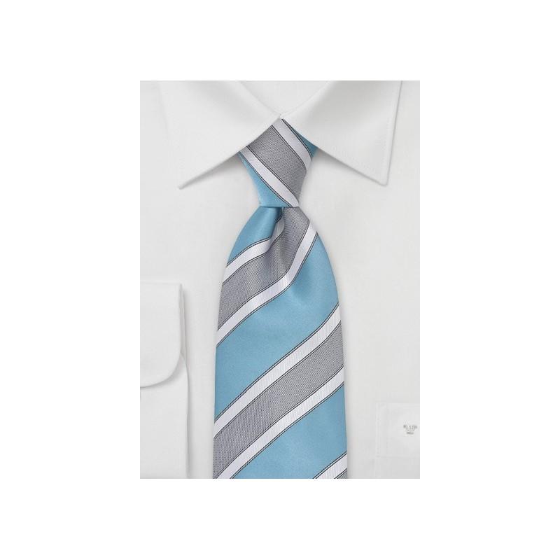 Wide Striped Tie in Adriatic Blue