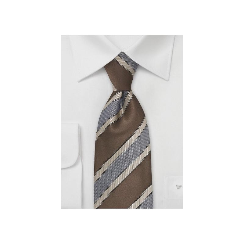 Striped Tie in Cognac