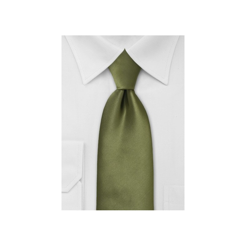 Solid Olive Green Tie in XL Length