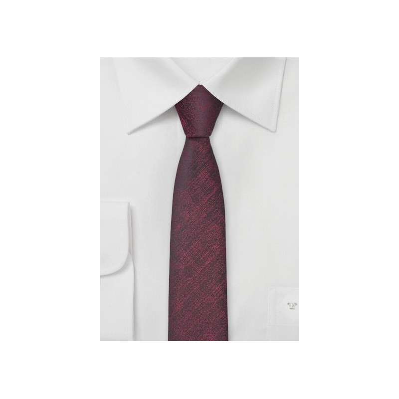 Ultra Skinny Tie in Heathered Wine Red