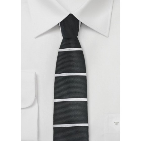Retro Squared Tipped Tie in Black and Silver