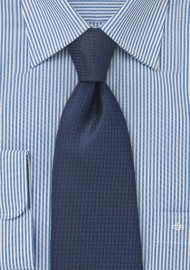 Micro Houndstooth Check Tie in Dark Navy