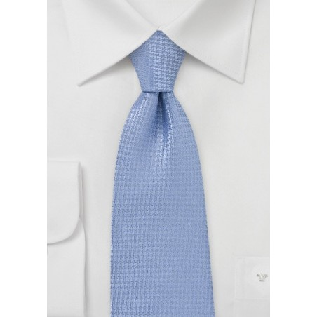 Micro Houndstooth Check Tie in Light Blue