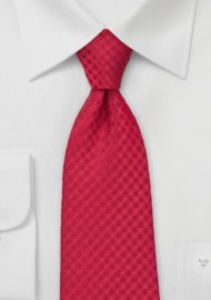 Solid Gingham Check Tie in Bright Red