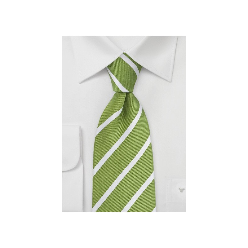 Fresh Grass Green and White Striped Tie
