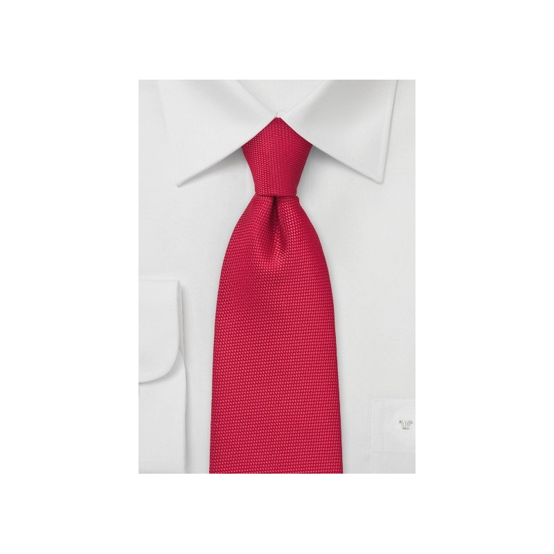 Bright Red Tie with Textured Fabric