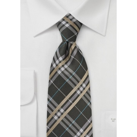 Modern Plaid Tie in Harvest Browns