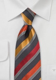 Modern Tie in Greys and Oranges