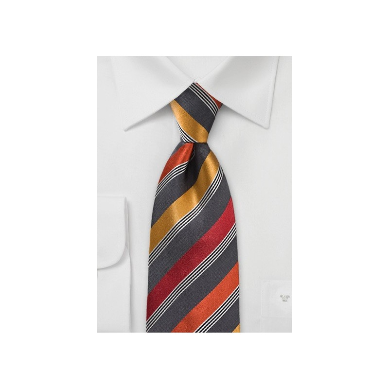 Modern Tie in Greys and Oranges