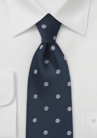 Patterned Tie in Navy and White