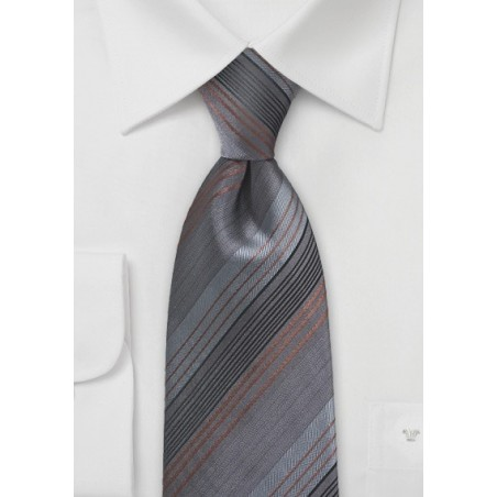 Sophisticated Striped Tie in Greys