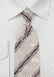 Wheat and Brown Textured Striped Tie