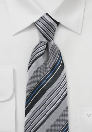 Metropolitan Striped Tie in Silvers and Blues