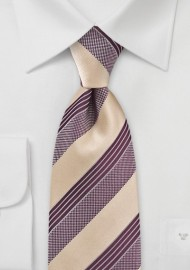 Striped Tie in Golden Wheat and Burgundy