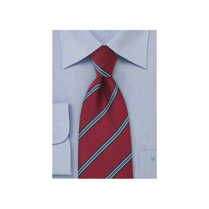 Extra Long Regimental Tie in Deep Red