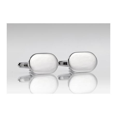 Polished Silver Oval Shaped Cufflinks