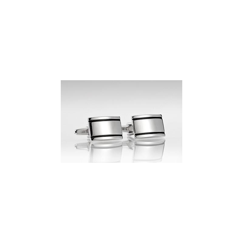 Silver Cufflinks with Black Stripes