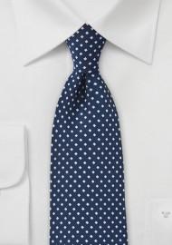 Midnight Blue Tie with Silver Diamonds