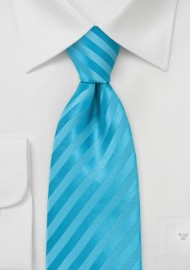 Aqua Blue Stripe Necktie for Kids
