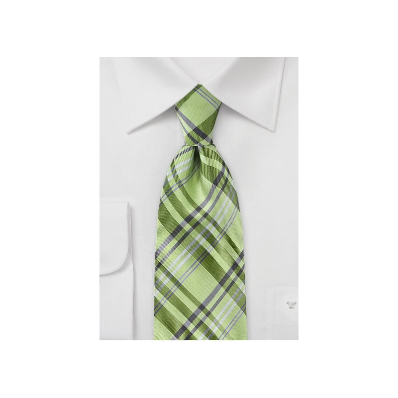 Plaid Tie in a Bright Lime