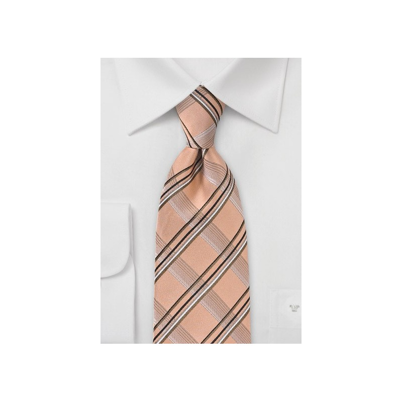 Modern Plaid Tie in Vintage Peach