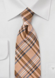 Modern Plaid Tie in French Peach