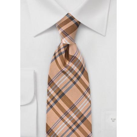 Modern Plaid Tie in French Peach