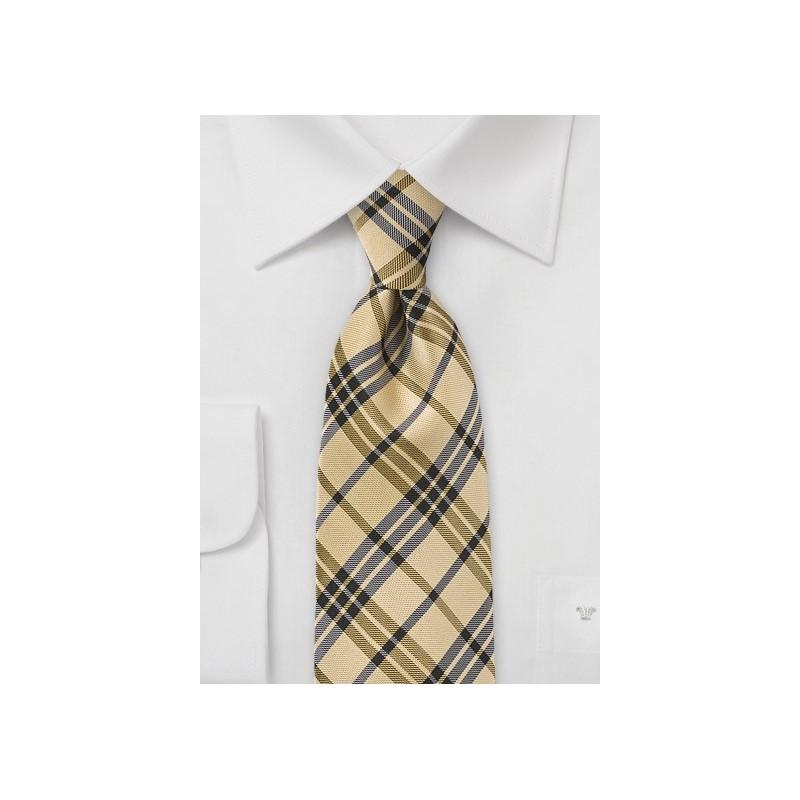 Preppy Plaid Tie in Yellow