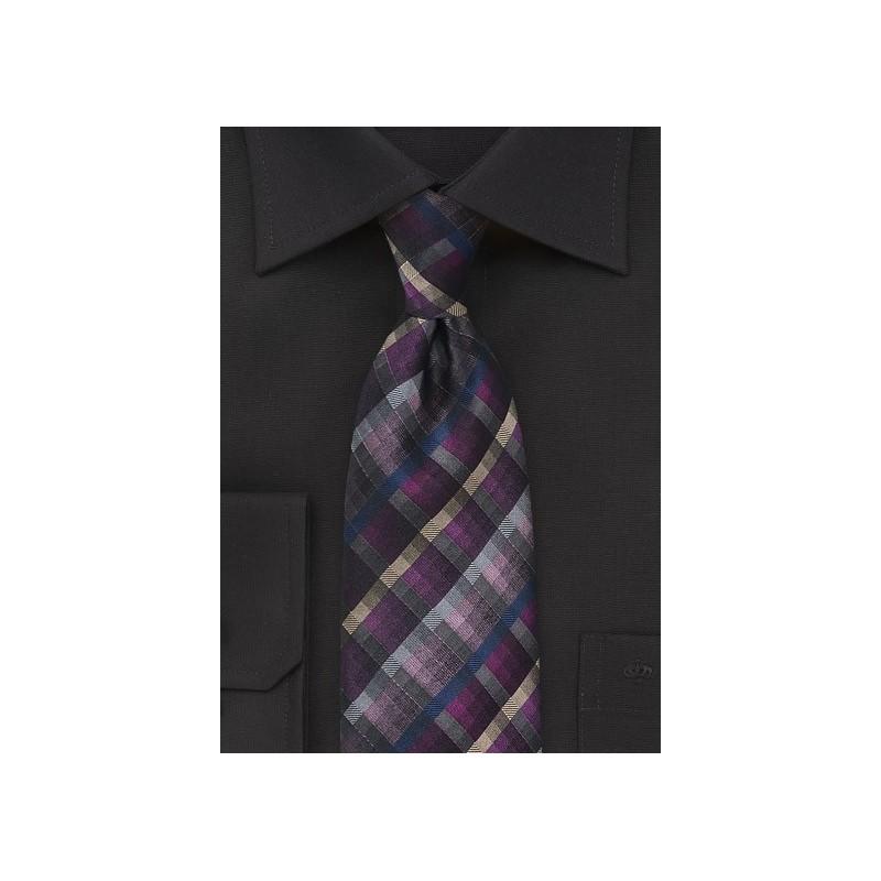 Purple, Pink, Gray Checkered Tie
